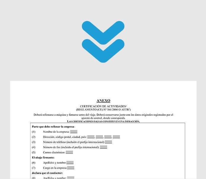 Certificado de actividades Tacógrafo • Buscador Transportes