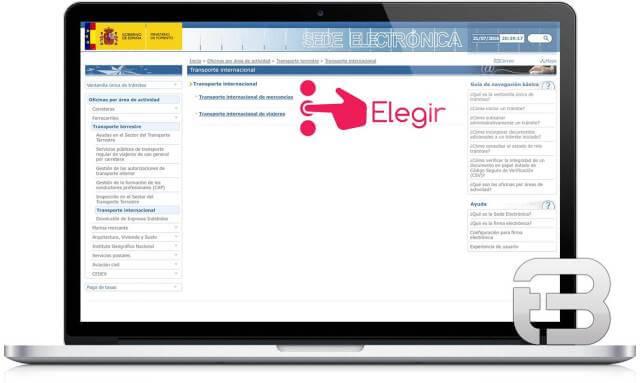 Captura de pantalla para trámites con firma electrónica; autorizaciones o habilitaciones para transporte internacional