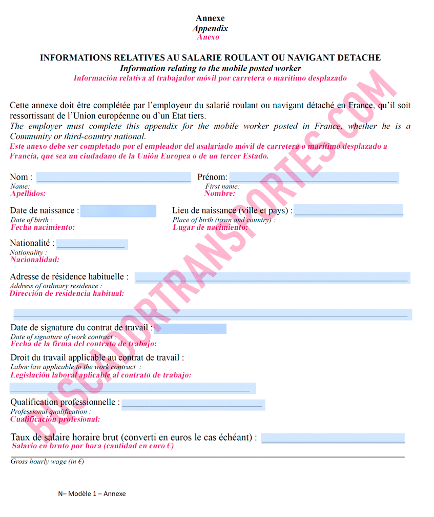 Certificado de desplazamiento Francia empresas de transporte - traducción página 4 en español